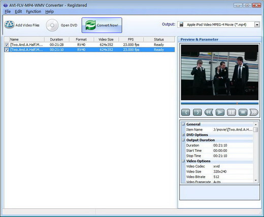 AVI-FLV-MP4-WMV Converter Screenshot