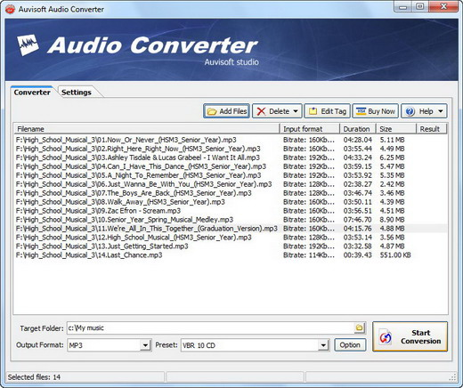 Click to view Auvisoft Audio Converter 2.7 screenshot