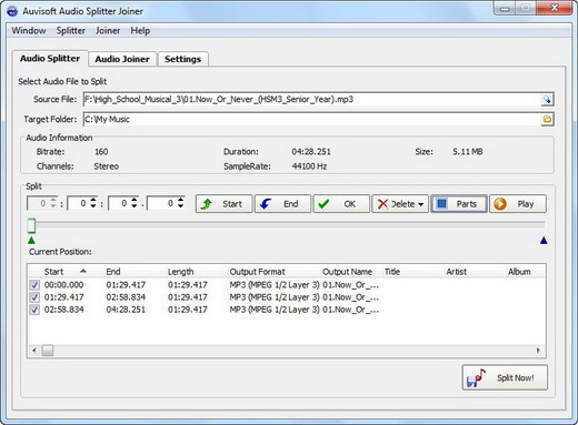 Click to view Auvisoft Audio Splitter Joiner screenshots