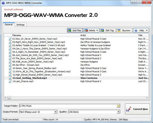 Click to view MP3-OGG-WAV-WMA Converter 2.5 screenshot